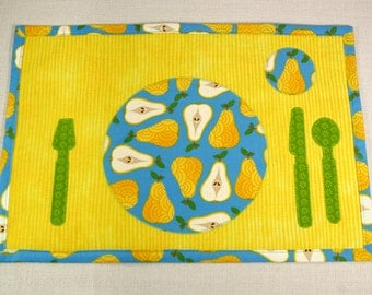 Montessori Inspired Child's Placemat - Pears Place-setting Placemat