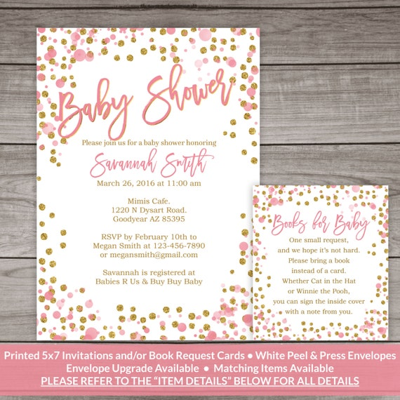 pink and gold baby shower invitation printed invitations pink and