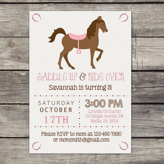 Pony Party Invitations Cowgirl Birthday Invitation Horse