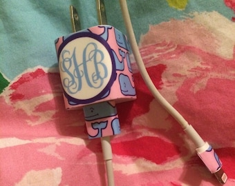iPhone Monogram Lilly Pulitzer Label Charger Wrap