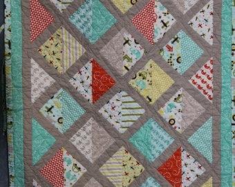 Baby boy Quilt, car seat quilt, stroller quilt, shower gift, handmade #2
