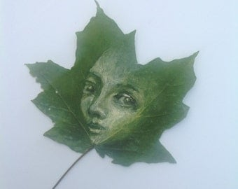 Nature art original painting on maple leaf ethereal green