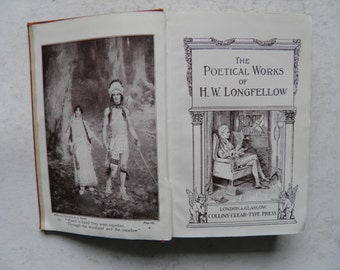 The Poetical Works of HW Longfellow Collins' Clear Type Vintage Hardback illustrated