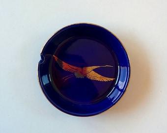 Vintage ashtray / ceramic ashtray / gold ibis / made in japan