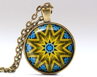 Hipster necklace Mandala jewelry Indie pendant OWA674