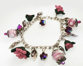 Dusty Polymer Rose & Handmade Lampwork Glass Bead Charm Bracelet with Swarovski Crystals and Bali/Thai Fine Silver OOAK SRA T25
