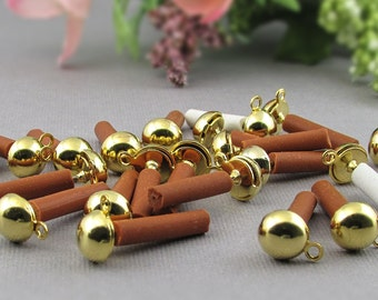 Half Ball Post Earrings with Loop, 6mm Gold Plated Stainless Steel Jewelry Findings, 24 pc S032