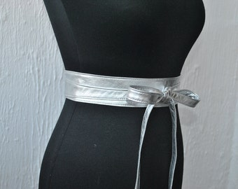 Metallic silver Leather obi belts. Genuine Italian leather belts.