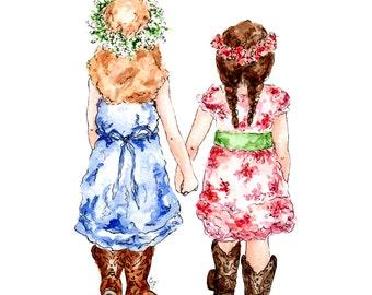 Country Girls, Original Watercolor Print