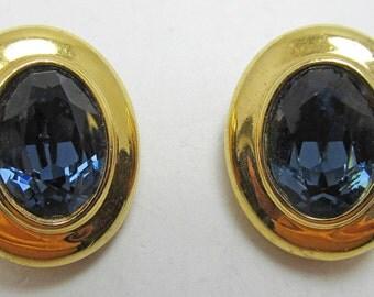 Contemporary 1970s Dark Sapphire Rhinestone Earrings