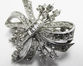 Vintage - Collectible - Rhinestone Floral Pin/Pendant - Jewelry - Silver - Rhinestones - Pin - Brooch - Pendant - Floral - Flawless - Gift