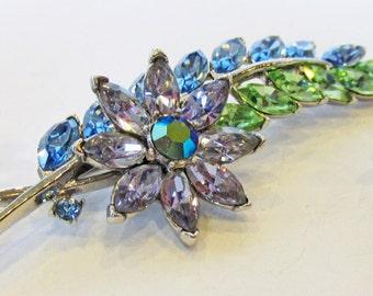 Vintage 1950s Crown Trifari Rhodium Plated Rhinestone Floral Pin and Earrings Set