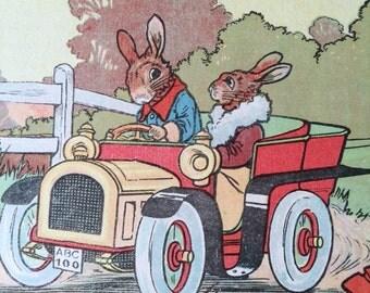 1929-Book Plate-Lithograph-GEO Mason-Hare-Rabbit-Vintage car-Nursery-Home-Wall decor