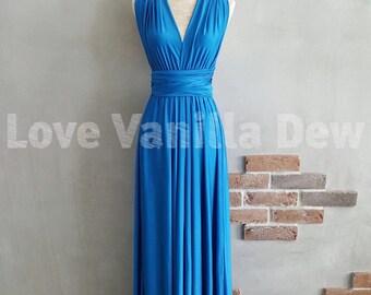 Bridesmaid Dress Infinity Dress Azure Blue Floor Length Maxi Wrap Convertible Dress Wedding Dress