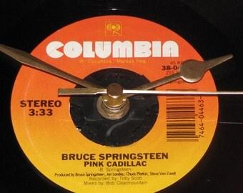 "Bruce Springsteen pink cadillac  7"" vinyl record clock"
