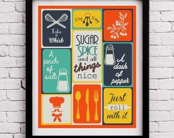 Retro Kitchen decor,kitchen print,kitchen wall art,kitchen print set, kitchen decoration,kitchen poster,housewarming gift,living room decor
