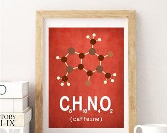 Red Brown CAFFEINE poster, Red kitchen wall art, kitchen decor, Coffee print, Coffee decor, Coffee poster, Kitchen art, Coffee kitchen decor