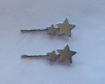 Gold or Silver Double Star Wooden Hair Slides, Bobby Pins, Kirby Grips, New, Handmade