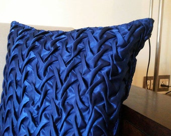 Decorative Throw Pillow Cover Blue Satin Pillow Cover,Canadian Smocking Textured Pillow,Accent Pillows 16x16 Cushion Cover Home Décor