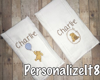 Personalized inspired Classic Pooh Burp Cloth, Burp Cloth, Personalized Baby Shower Gift