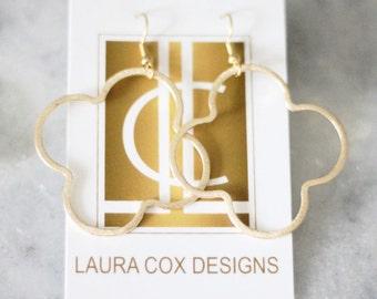 Large Gold Quatrefoil Earrings