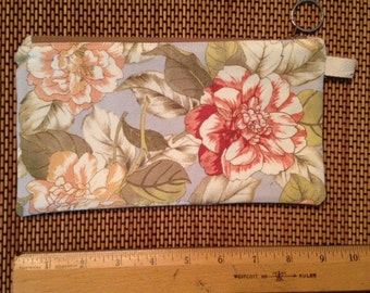 Floral,Waverly Print Canvas zippered bag. Lined.