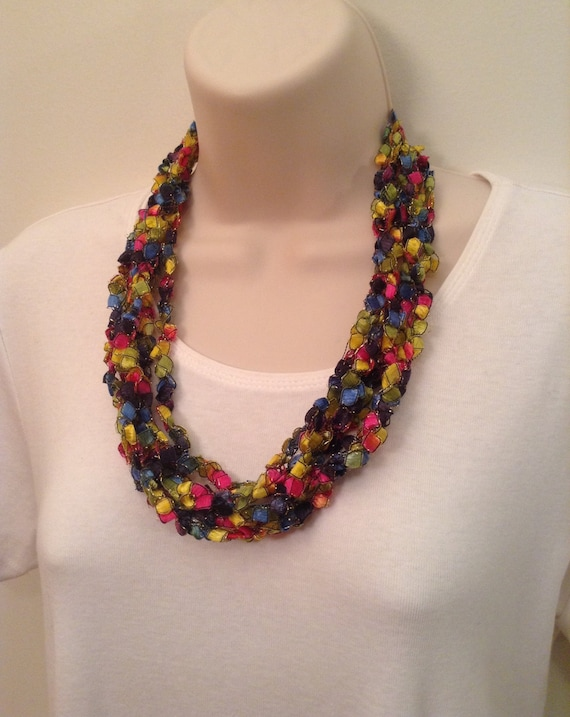 Sale Multi-Colored Crocheted Ladder Yarn Necklace