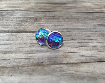 Purple Mermaid Stud Earrings, Mermaid Earrings, Nautical, Studs Earrings