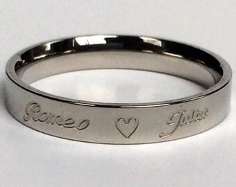 Womens Ring, Heart Shaped Ring, Custom Ring, Personalized Ring, Titanium Ring