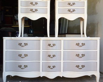 SOLD-Beautiful French provincial bedroom set dresser and two night stands - white and grey- located in San Francisco, CA