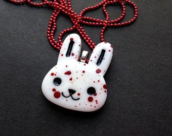 Creepy Cute Bloody Bunny Necklace / Guro Lolita / Goth