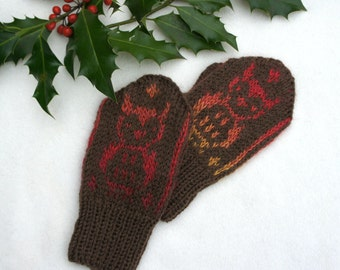 Wool mittens, Knit wool gloves, Winter  baby mittens, Patterned brown mittens, Christmas gift