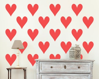 Heart Wall Stickers x 20 - Black White Blue Green Orange Yellow Red Grey Pink Purple Silver Gold 1 to 10 inches high Bedroom Nursery Wall