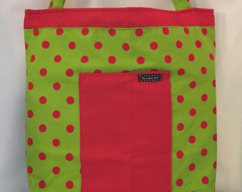 Green with Red Polka-dots tote Bag