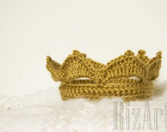 Crochet Prince Crown | Gold Crown Costume Accessory | Baby Photo Prop