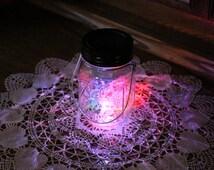 Hanging Mason Jar Solar Lid Light Metal Ring - Color Changing LED - Includes 1 Clear Mason Jar and Handmade Hanger - Lid Light Changes Color