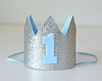 Baby Boy 1st Birthday Mini Crown - Silver Glitter & Blue - Birthday or Cake Smash or Photo Prop - Made to Order