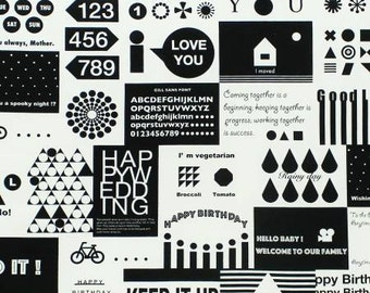 Message Card in Black/White by Lecien Half yard 31230L-100