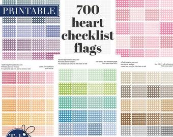 700 heart checklist flags printable planner stickers for horizontal Erin Condren planner.