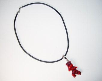 Branch Coral Sterling Leather Necklace Pendant Vintage