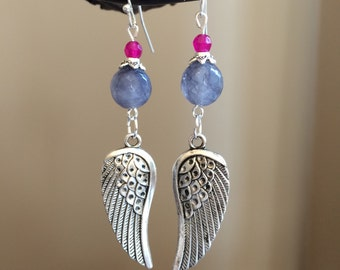 Beautiuful handmade angel wing earrings, accented with faceted gray agate bead, magenta agate bead, and silver tone findings.