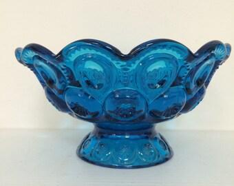 Aqua Blue Glass Candy Dish - L. E. Smith Moon and Stars Blue Glass Compote -