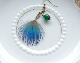 Hanging earrings Peacock feather jade bead boho moss green azure bronze necklace