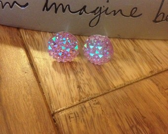 Sparkly Pink Stud Earrings. Nickel Free. Light Weight. 12mm. # 6