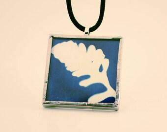 Pressed Feather Leaf Cyanotype Pendant