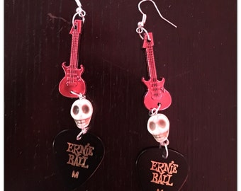 Skull Guitar Pick Earrings