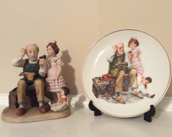 """Befuddled!! The Original Norman Rockwell  """"The Cobbler"""" Figurine and Plate."""