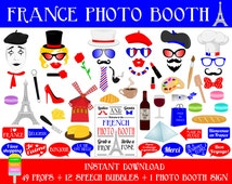 France Photo Booth Props–62 Pcs (49 Props,12 Speech Bubbles,1 Photo Booth Sign)-Printable France Travel Props-DIY Paris Photo Booth Props