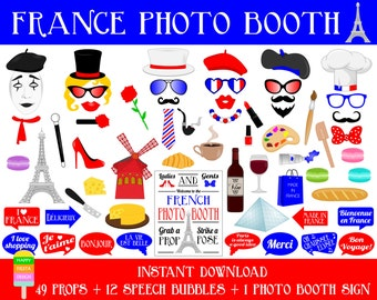 PRINTABLE France Photo Booth Props–Photo Booth Sign-Printable France Travel Props-DIY Paris Photo Booth Props-Paris PDF-Instant Download