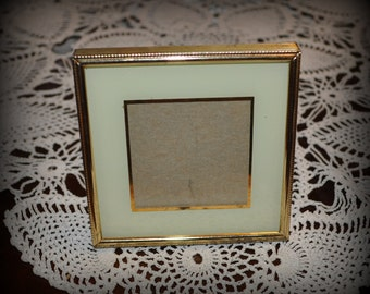 Vintage Metal Picture Frame, Matte Painted on Glass, 3 3/4in x 3 3/4 in